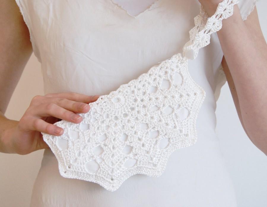White Bridal Clutch Bag Bridal White Crochet Purse Wedding Bag