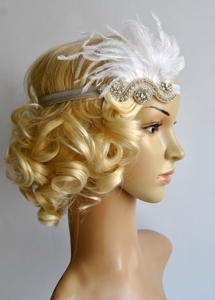 Wedding - The Great Gatsby,20's flapper Headpiece, Vintage Inspired, Bridal 1920s Headpiece ,1930's, Rhinestone headband, Rhinestone flapper headpiece