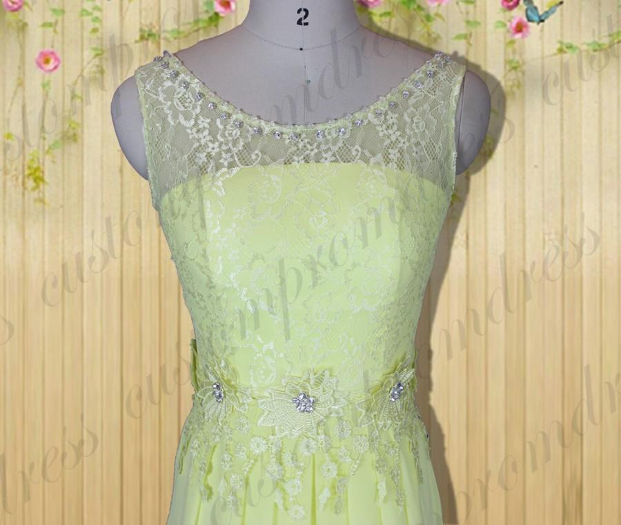 Düğün - yellow lace Long prom dresses,Sweetheart prom dress,Bridesmaid dress,Chiffon prom dress, wedding party dress custom for buyer C4003