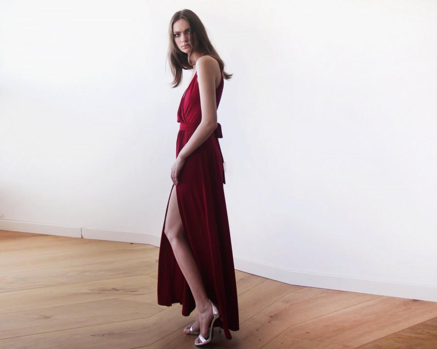 Boda - Burgundy straps wrap dress, Wine Red bridesmaids dress with a slit