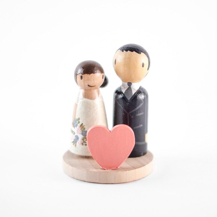 Heart Wedding Cake Topper   Modern Bride And Groom Cake Topper   Heart Cake  Topper   Small Wedding Cake Topper   Peg Doll Wedding Topper