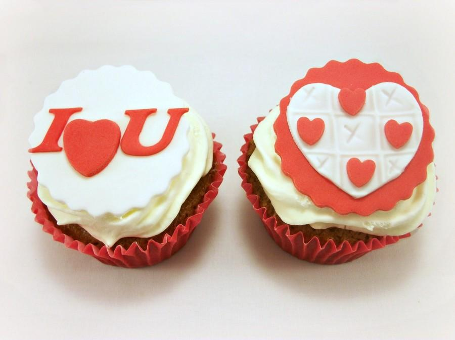 Valentine Day Party Cupcake Edible Fondant Toppers Decor Candy Gift