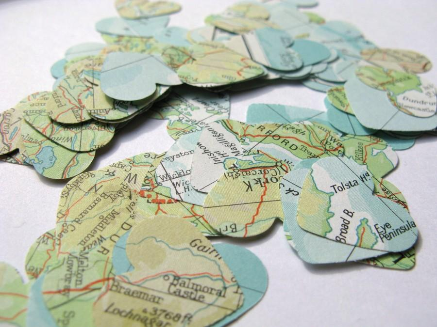 250 vintage world atlas map confetti hearts map decoration