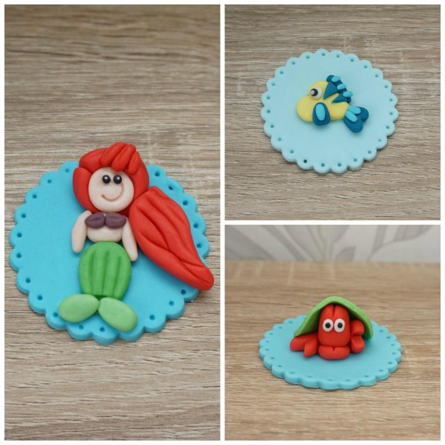 Fondant Ariel Cupcake Toppers Little Mermaid Set Of 3 2492040