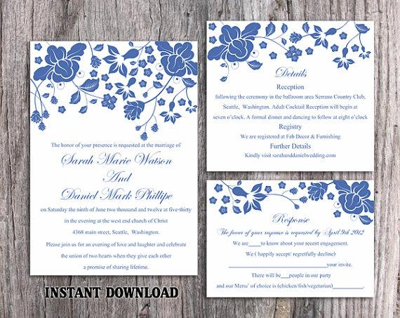 Свадьба - DIY Wedding Invitation Template Set Editable Word File Instant Download Printable Navy Blue Invitation Elegant Flower Wedding Invitation