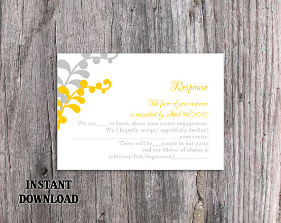 Hochzeit - DIY Wedding RSVP Template Editable Text Word File Download Printable RSVP Cards Leaf Rsvp Gold Rsvp Card Template Silver Rsvp Card