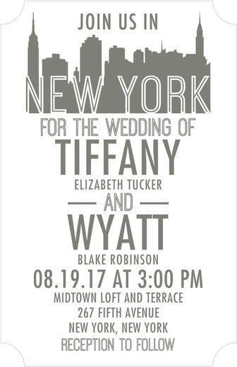 زفاف - Chic Skyline - Thermography Wedding Invitations In Gunmetal