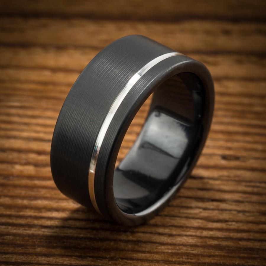 زفاف - Men's Wedding Band Comfort Fit Interior Black Zirconium Silver Stripe Ring