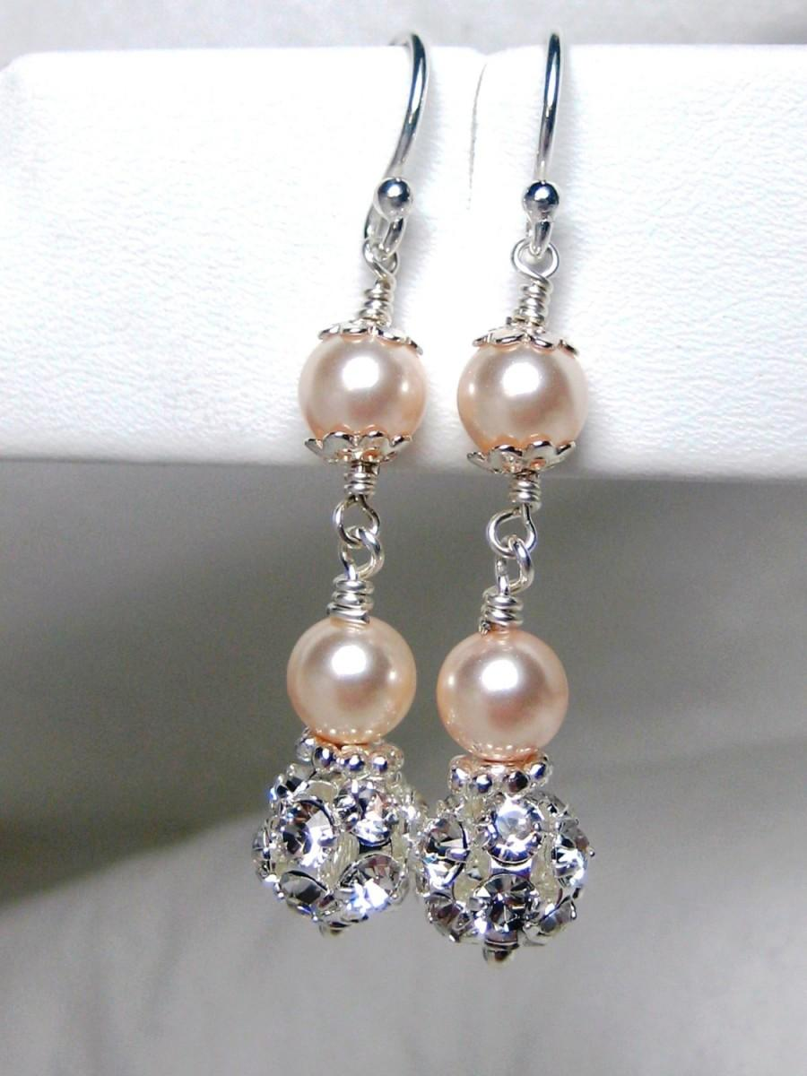 Mariage - Champagne Pearl Bridal Earrings, Wedding Earrings, Bridesmaids, Swarovski Rhinestone, Sterling Silver, Special Occasion, Wedding Jewelry