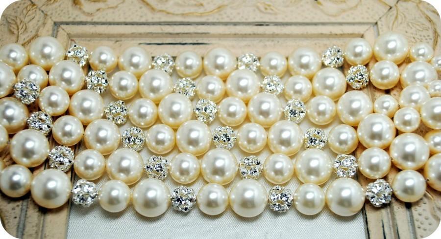 Mariage - Bridal Bracelet, Rhinestone Pearl Wedding Bracelet, Thick, Chunky, Cuff Bracelet, Elegant Wedding Jewelry, Ivory Pearl Bracelet, Six Strands