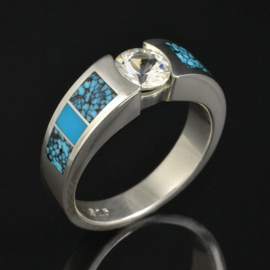 Turquoise And White Sapphire Engagement Ring Or Wedding Band In Sterling Silver By Hileman Jewelry