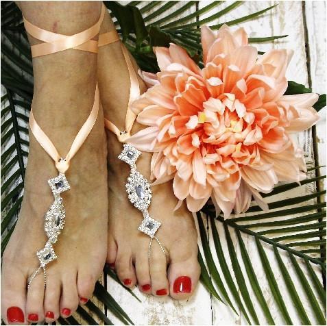 زفاف - barefoot sandals wedding peach ribbon