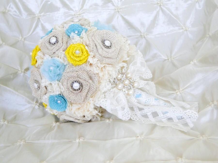 f34a6b0b64c36 Burlap Brooch Bouquet Burlap And Lace Wedding Bouquet Bridal Bouquet ...