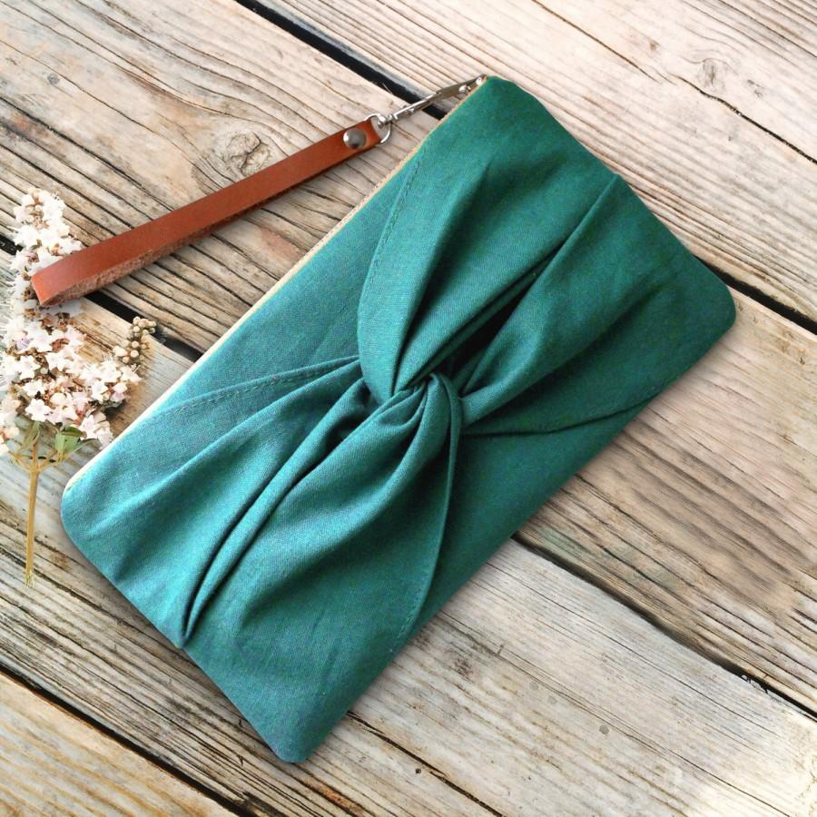 Mariage - Teal Blue Bow Wristlet with Detachable leather wrist strap- Dragonfly Zipper Clutch- Banana Cottage