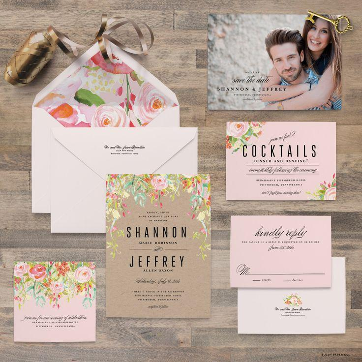 Watercolor Flower Wedding Invitation Samples