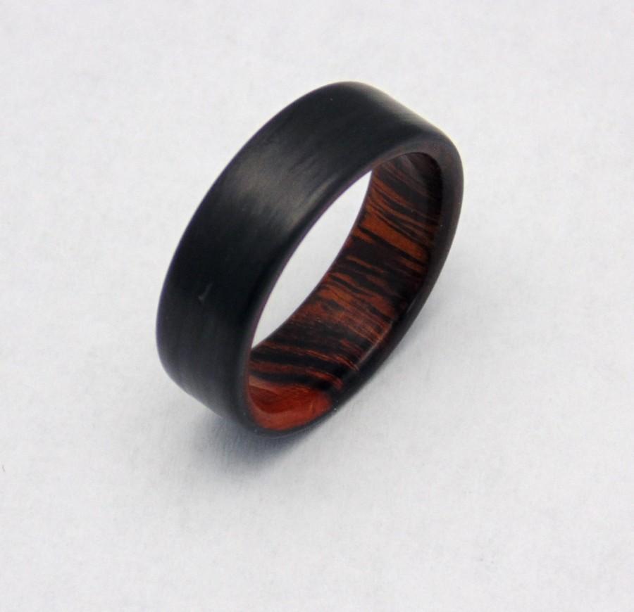 زفاف - Ironwood and Carbon Fiber ring, Handmade Carbon fiber and wood ring