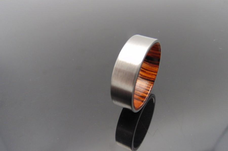 Wedding - Titanium and wood ring,   Cocobolo waterproof wood ring