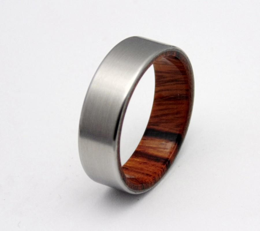 Titanium Ring Sonora Desert Wood Ring Mens Titanium Wedding Band