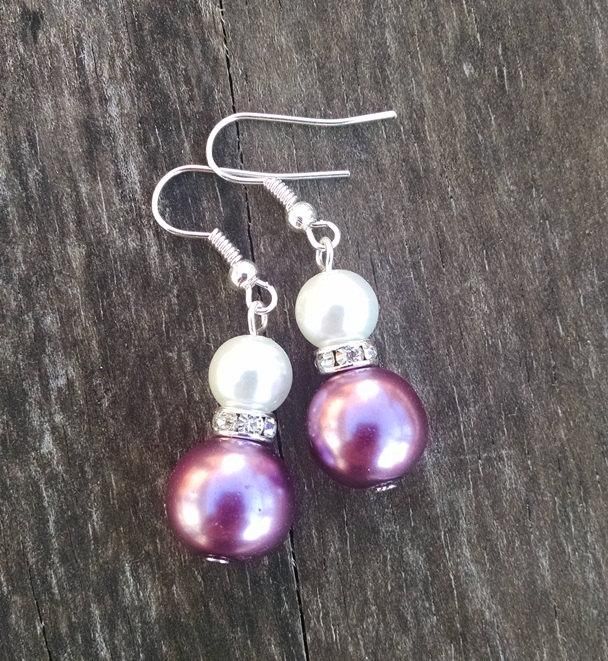 Свадьба - Purple and White Double Pearl Earrings with Crystal Accents Wedding Jewelry Pearl Wedding Bridal Jewelry - Available in Clip-on Earrings