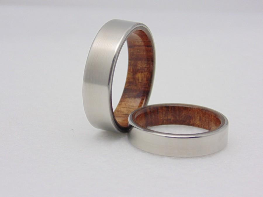 Wedding - Wedding band set Koa wood and Titanium  Matching titanium and wood rings