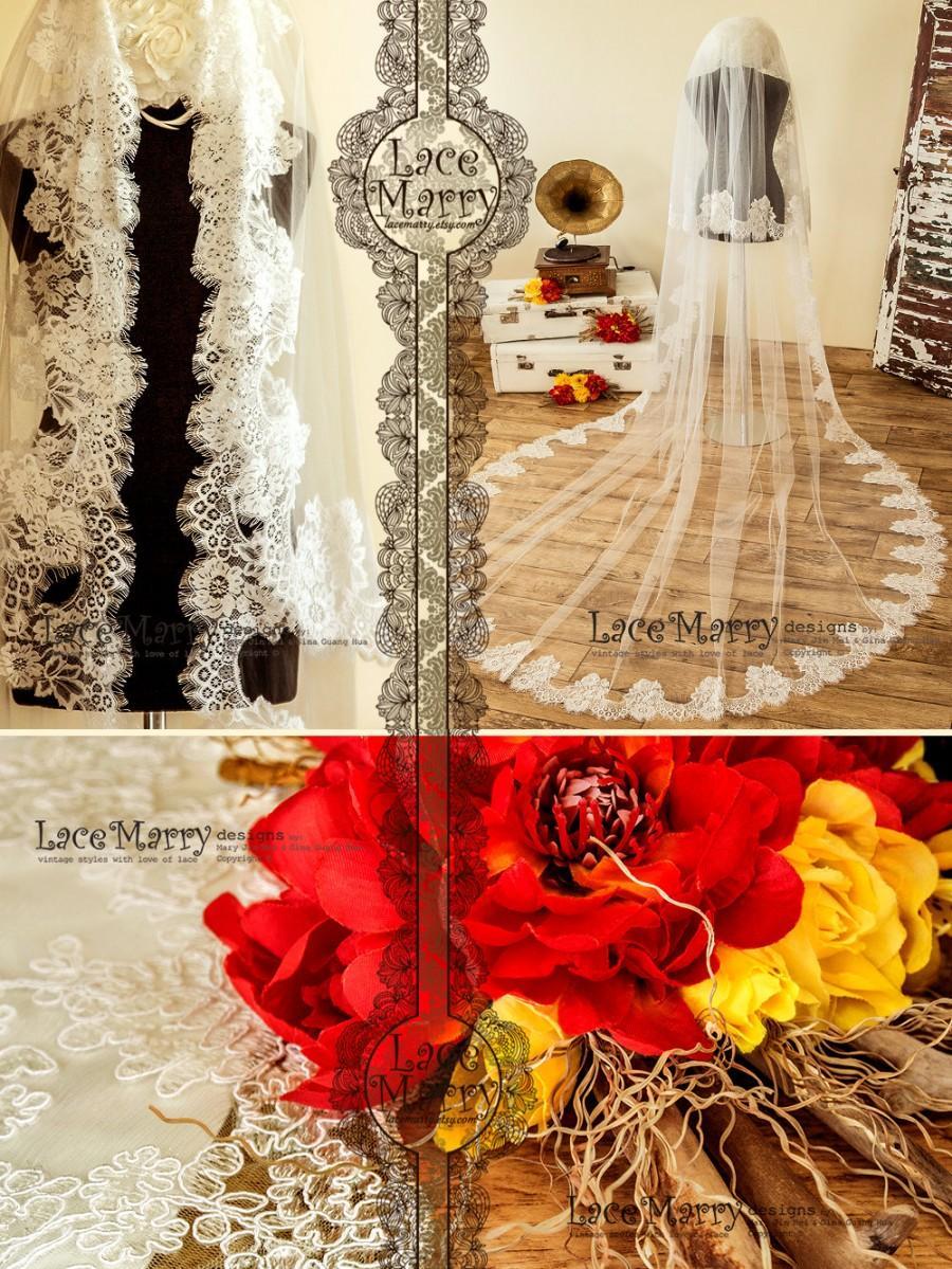Mariage - Murka Cathedral Wedding Veil, Ivory Wedding Veil, Long Bridal Veil, Wedding Veils, Bridal Veil, Soft Tulle Veils, Lace Veils, Wedding Veils