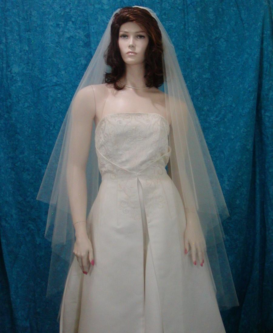 Mariage - 2 Tier Walking length Bridal Veil Super Sheer and flowing with Raw Cut Edge