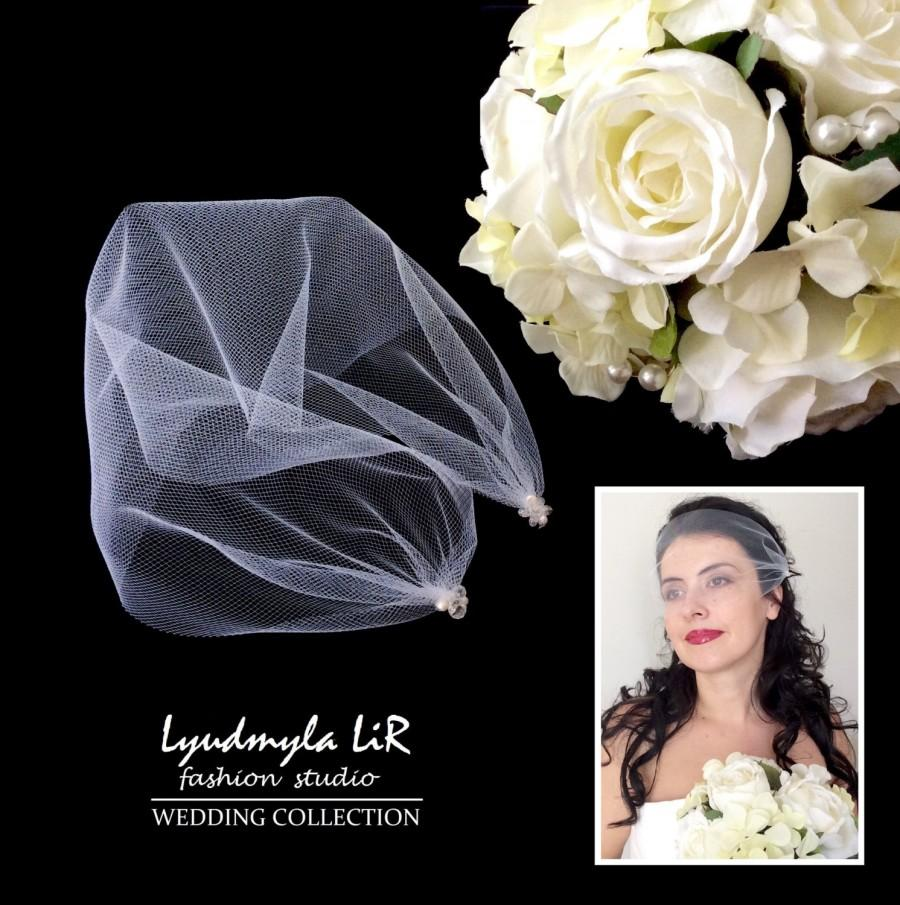 Mariage - Bridal Bandeau Birdcage Veil Wedding Veil with Swarovski Crystals & Pearls. Headpiece Accessory, Tulle Veil White, Ivory, Blush Pink, Black