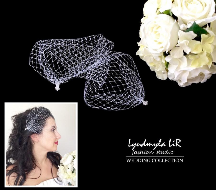 Mariage - Bridal Bandeau Birdcage Veil Wedding Veil with Swarovski Crystals & Pearls. Headpiece Accessory, French Russian Veiling, White Ivory Black