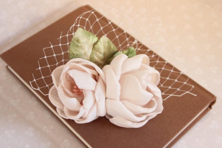زفاف - Blush Rose Hair Clip, Blush Headpiece, Bridal Headpiece, Bridal Hair Clip, Floral Hair Accessory, Romantic Hair Clip