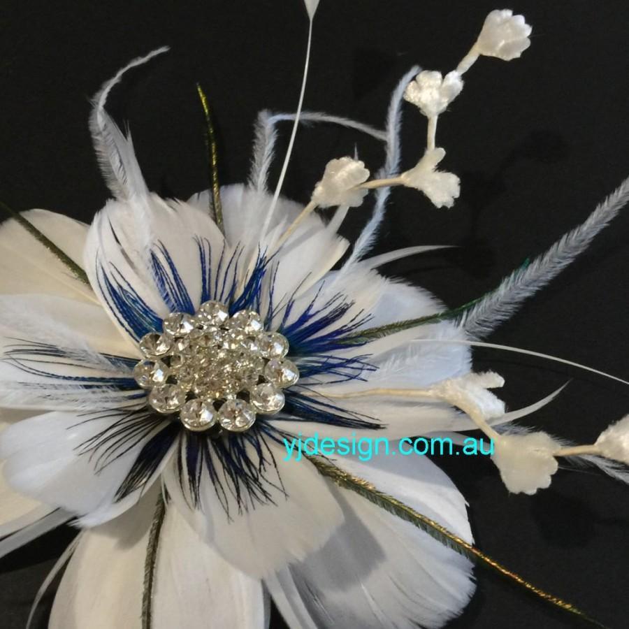 Wedding - Bridal Hair Clip, Wedding Headpiece, Peacock Feather, Flower Fascinator, Something Blue, Dress Brooch, ART NIRVANI