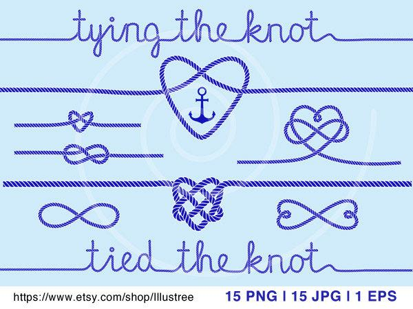 Wedding - tying the knot, wedding invitation, navy blue rope hearts, clip art, anchor, nautical clip-art, digital clipart, scrapbooking, download