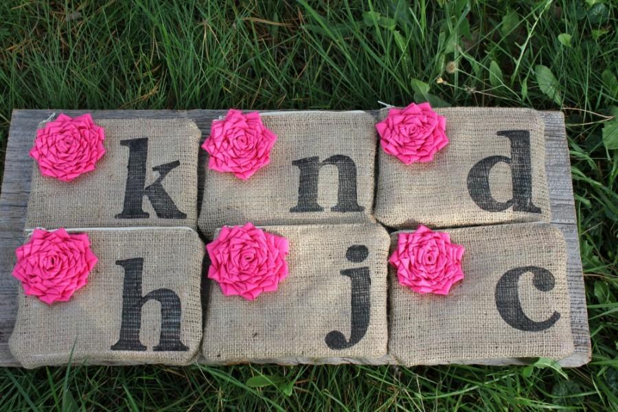 Mariage - English Garden Wedding, 6 Custom Wedding Clutches, Pink Wedding, Personalized Bridesmaid Clutch, Mother of the Bride Gift, Burlap Wedding