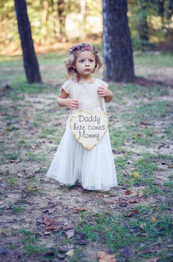 Hochzeit - Personalized Engraved Wooden Heart - Wedding Sign- Rustic/ Shabby Chic Wedding-Flower Girl Basket Alternative Daddy, Here Comes Mommy