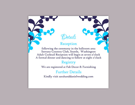 Hochzeit - DIY Wedding Details Card Template Editable Text Word File Download Printable Details Card Navy Blue Turquoise Details Card Information Cards
