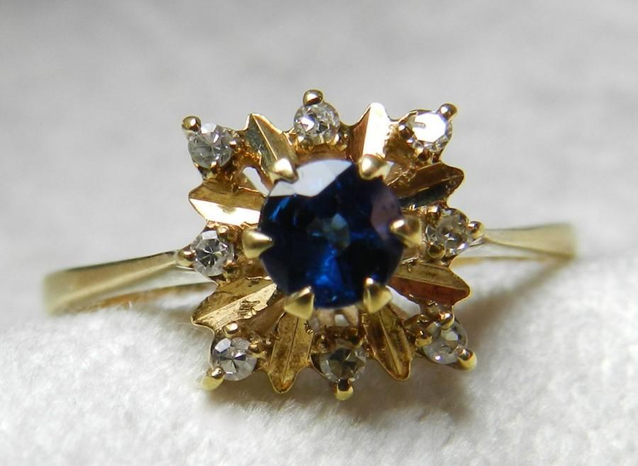 Mariage - Sapphire Engagement Ring Sapphire Ring Natural Blue Sapphire Diamond Halo Ring 14K September Birthday