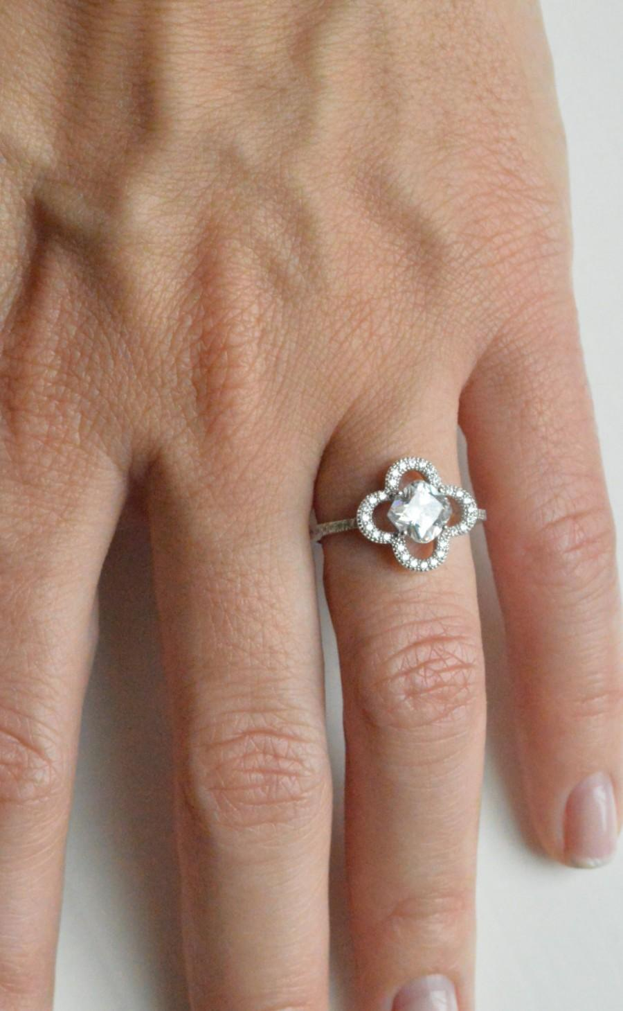 Mariage - 14k Lucky Charm Engagement Ring - 1.5ct Halo Engagement Ring - Art Deco Ring - 14k Clover Ring - 14k Promise Ring
