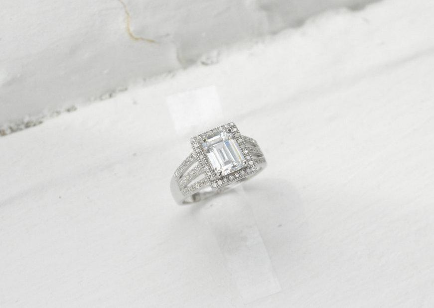Свадьба - 14kt White Gold Engagement Ring - Emerald Cut Engagement Ring - Halo Ring - Split Shank Engagement Ring - Triple Band Pave Halo - Promise
