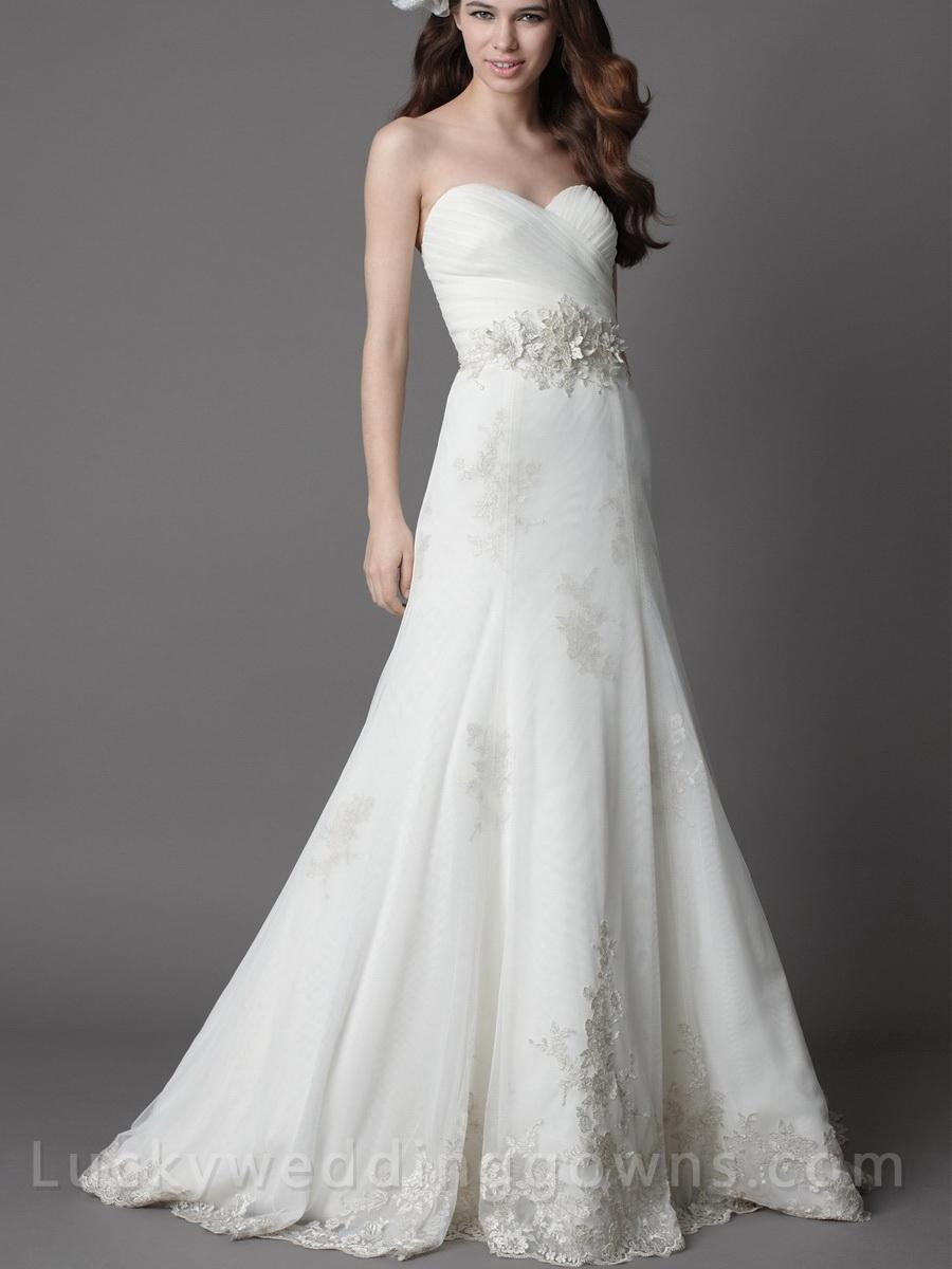 white strapless chapel train wedding dress with full a