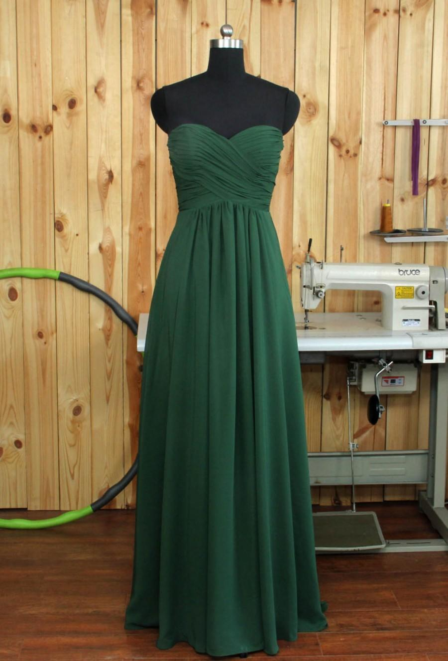 Mariage - Dark Green Bridesmaid dress, Chiffon Wedding dress, Sweethear Evening Dress, Wedding dress, Prom Dress, Formal Dress floor length