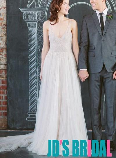 Wedding - H1675 Romantic flowy tulle strappy aline wedding dress 2016