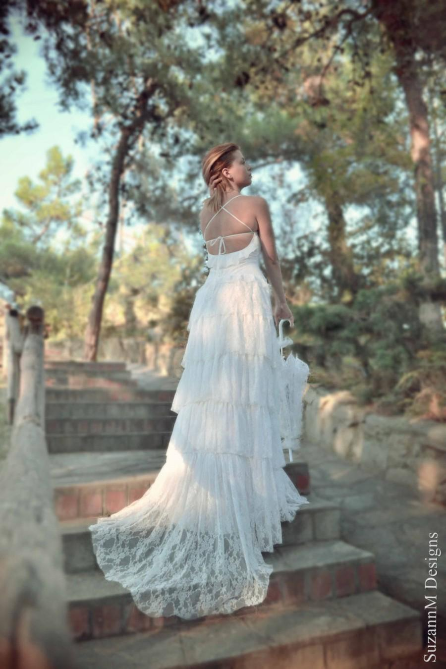 زفاف - White Wedding Dress, Lace Wedding Dress, Bohemian Wedding Dress, Boho Wedding Dress, White Bridal Dress, Long Wedding Gown, SuzannaM Designs