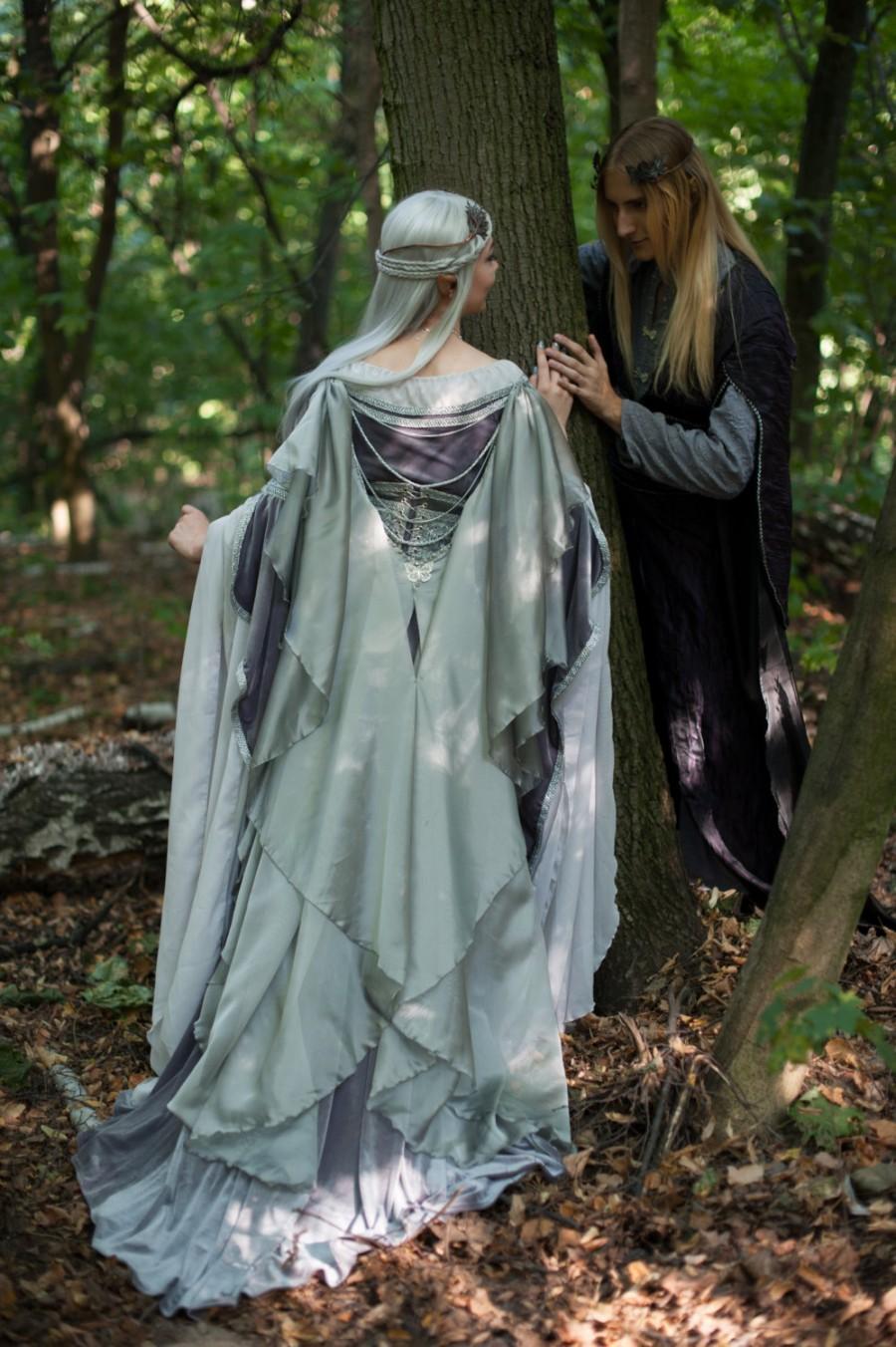 زفاف - Silver gray elven  dress.  Made to order