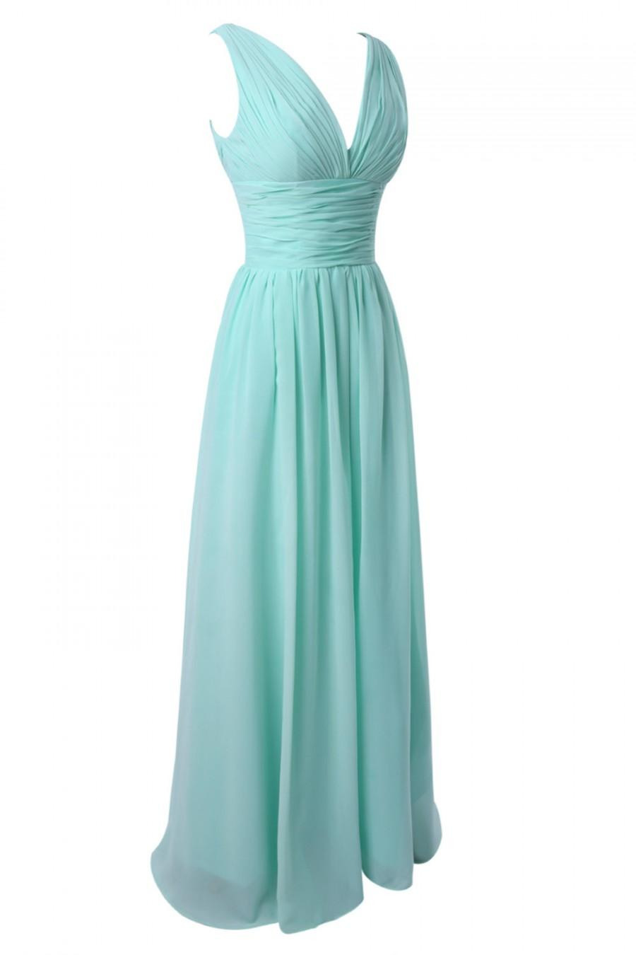 Long V Cut Neckline Chiffon Dresses Floor Length Dresses Sheath