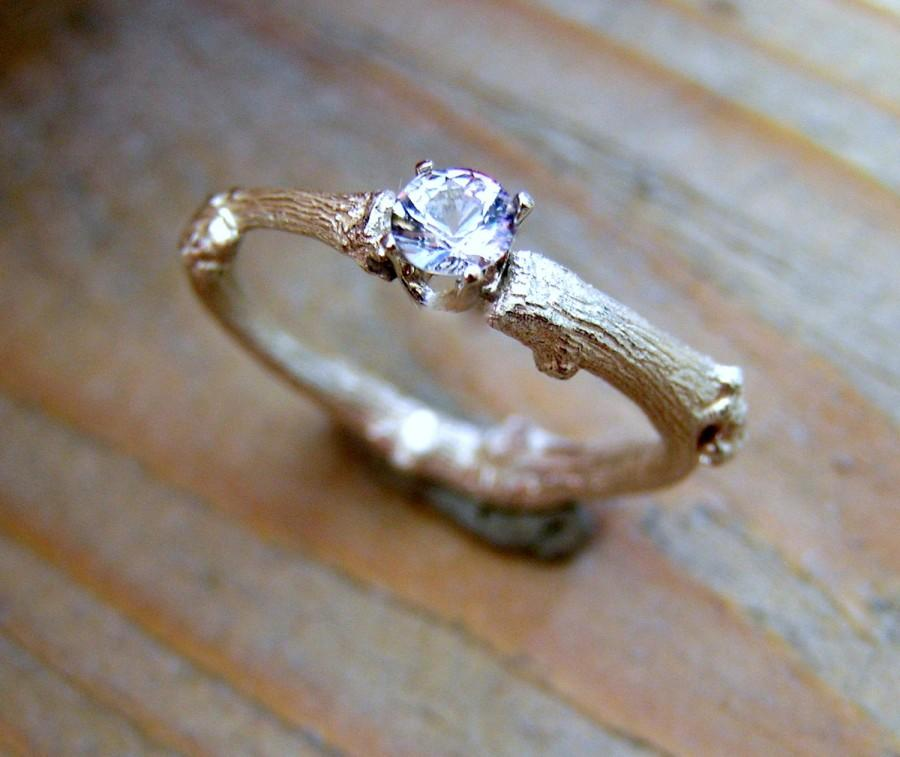 Wedding - budding twig sterling silver ring with round diamond cut topaz. Contemporary engagement ring