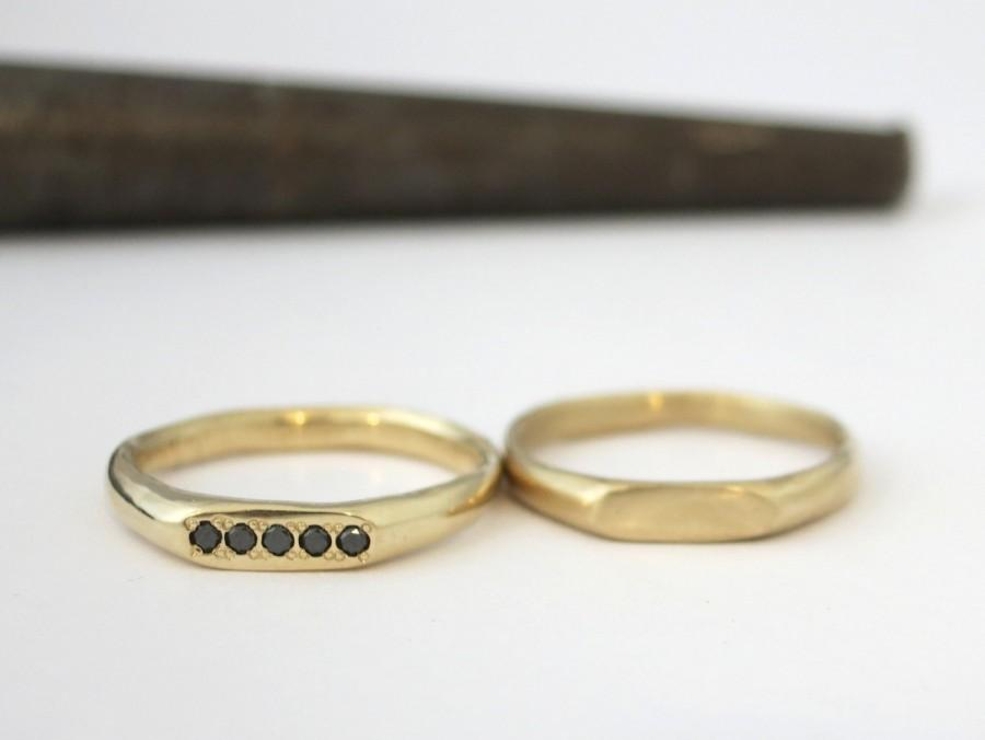 14k Solid Gold And Black Diamond Engagement Ring Minimalist Signet With 5 Diamonds Unique Handmade