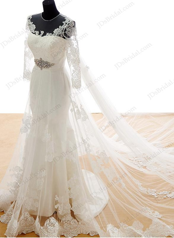 Is042 beautiful lace mermaid wedding dresses with for Mermaid wedding dress with detachable train