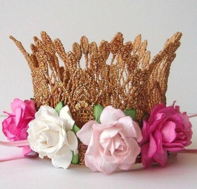 Wedding - Gold Crown Cake Topper - Baby Shower Cake Topper - Bridal Shower Cake Topper - Pink - Aqua - White - Ivory - Your Choice of Colors