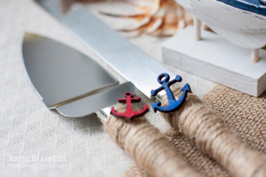 Hochzeit - Beach Nautical Wedding cake server and knife anchor, rope - wedding nautical  - WEDDING Table Settings