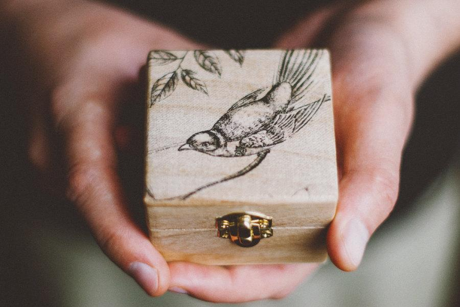 "Mariage - Small wooden engagement box ""My Little Bird""- wood, handmade, bohemian, rustic, wedding ring box, engagement, bird, missvintagewedding"