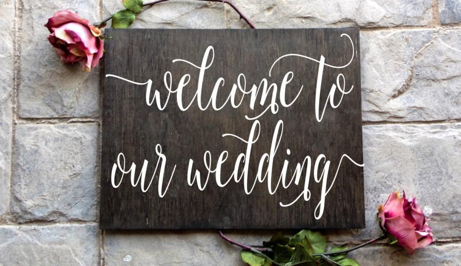 Mariage - 36X24 Welcome to Our Wedding Wood Sign, Wood sign, Wedding Wood Sign, Wooden Sign, Wedding, Handwritten, Typography, Wedding Decor